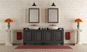 Double vanity in luxe bathroom